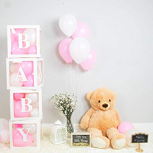 NAHA FLUME 4 Baby Shower Boxes + 24 Balloons | Baby Shower Decorations for Girl | | Girl Baby Shower Decorations | Baby Blocks Decorations for Baby Shower | 3 Sets of Baby Letters (Pink)
