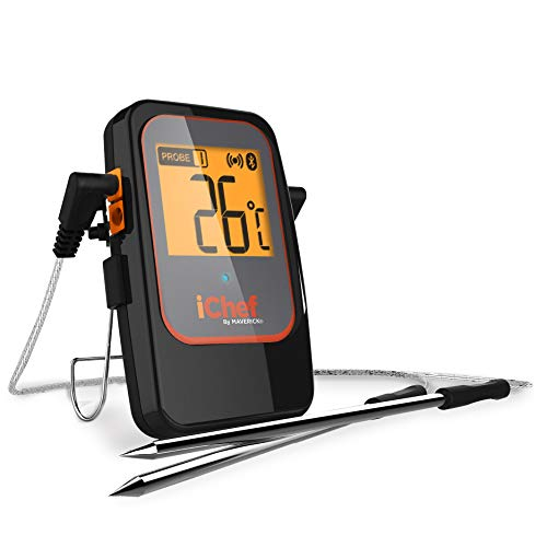 Maverick BT-600 iChef Bluetooth Digitale Instant Read Koken Keuken Grilling Smoker BBQ Draadloze Probe Vlees Thermometer, Zwart