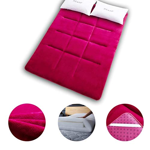 YQ WHJB Foldable Futon Mattress Topper, Ultra Soft Breathable Tatami Floor Mat Sleeping Pad For Home Camping Travel-red Twin: 90x200cm(35x79inch)