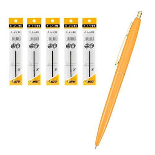 Bicジャパン 油性ボールペン クリックゴールド 蛍光オレンジ軸 0.5黒 替芯5個セット CLG05-ORGRF5