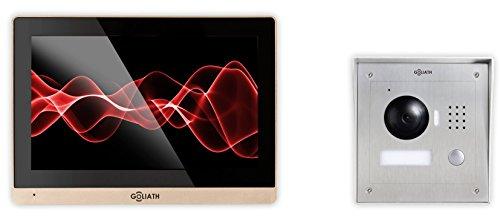 Goliath IP Türsprechanlage mit Kamera, Aufputz Türstation, Edelstahl, HD Kamera, App Türöffner-Funktion, 10,2 Zoll Touchscreen, Video-Speicher, 1 Familienhaus Set, AV-VTC30