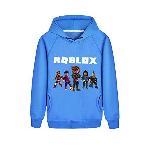 NINIUBAL Roblox Pullover Lässige Mode Hoodies Sweatshirt Bedruckter gemütlicher Kapuzenpullover Classic Sweater Jungen und Mädchen (Color : Blue09, Size : 110)