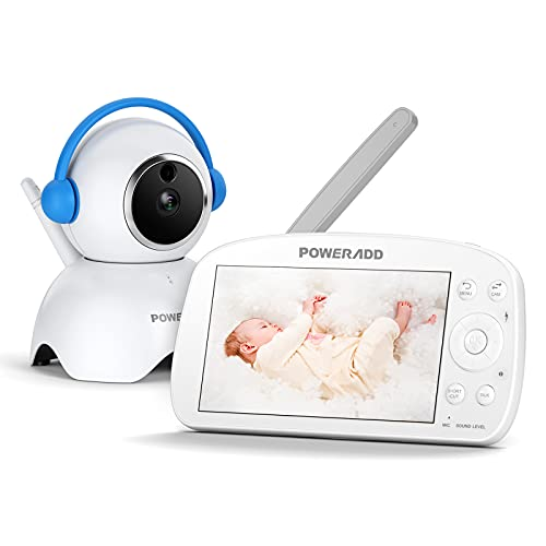 Babyphone mit Kamera 5,5 Zoll Video baby Monitor 720P HD Farbdisplay, VOX Modus, Infrarot-Nachtsicht, 5000 mAh Akku, 300M Reichweite, Gegensprechfunktion, Temperatursensor und Schlaflieder