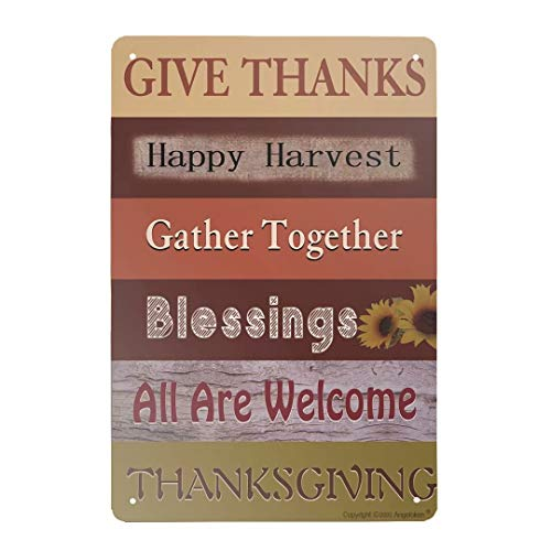Angeloken Retro Metal Sign Vintage Thanksgiving Fall Happy Harvest Sign for Plaque Poster Cafe Wall Art Sign Gift 8 X 12 INCH