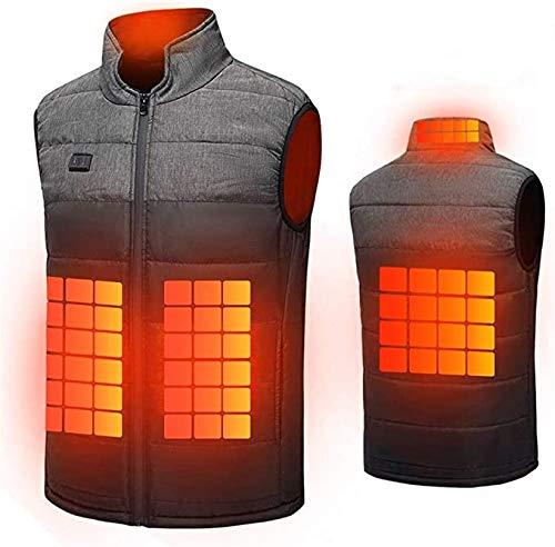 Chaleco calefactable para hombre y mujer, con carga USB, calentador eléctrico, lavable, para acampar al aire libre, senderismo, caza de invierno (color: negro, talla: 2XL)