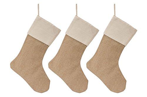 WeiVan Christmas Stocking Large Size Plain Burlap Décor, Set Of 3