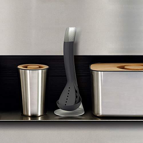 Joseph Joseph Nest 100 Utensils Compact Stacking Kitchen Tool Set with Magnetic Storage Stand Nylon, 5-piece, Gray