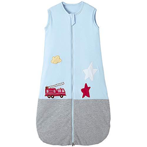 Saco de dormir para bebé de invierno con pies Pijama de algodón para niña niño 2,5 tog (6-10 años, azul gris costura coche)