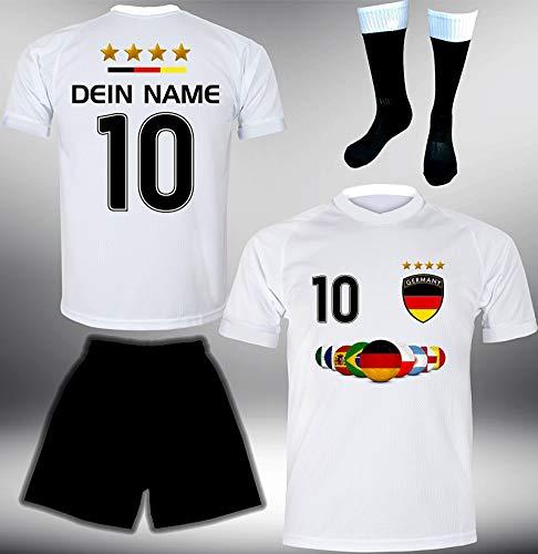 DE-Fanshop Deutschland Trikot Set 2018 mit Hose & Stutzen GRATIS Wunschname + Nummer im EM WM Weiss Typ #DE7ths - Geschenke für Kinder Erw. Jungen Baby Fußball T-Shirt Bedrucken