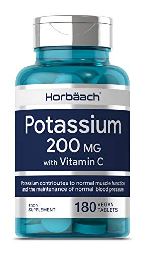 Potassium 200mg & Vitamin C | 180 Vegan Tablets | Blood Pressure, Muscle Function & Nervous System Support | Non-GMO, Gluten Free Supplement