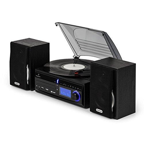 Auna MG-DS2 Sistema Multimedia Estéreo con Tocadiscos - Digitalizador Mp3, Tracción por Correa MAX 45 RPM, Reproductor de CD, Radio FM, USB, SD, Mando a Distancia, Negro