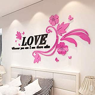 zy 3D arcylic wall decal LOVE Flower vine DIY Wall Stickers home Bedroom living room TV background Decorative wall stick,pink color
