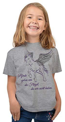 Pferde Sprüche Mädchen T-Shirt - Pferde-Motiv Shirt Kindershirt : Pferde geben Uns die Flügel, die wir Nicht haben - Coole Pferde-Sprüche Weisheiten Gr: S = 122-128