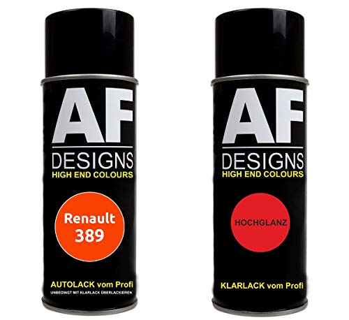 Alex Flittner Designs Autolack Spraydose Set für Renault 389 Orange Basislack Klarlack Sprühdose 400ml
