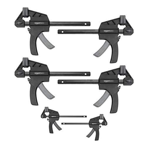 Amazon Basics - Juego de 6 abrazaderas de barra: 2 unidades de 10,16 cm y 4 unidades de 15,24 cm