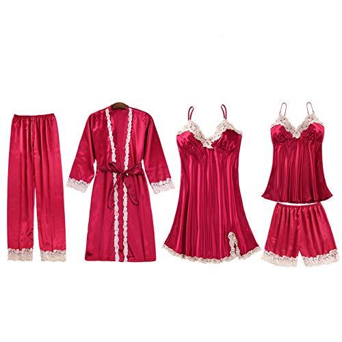 Pijamas Satén Mujer Ropa de Dormir Elegante Sexy Ropa de Noche Conjunto Pijama de Encaje Kimono Bata Camisola Pantalones Corto y Largo,para Familias para Todas Las Estaciones Camisones 5 Pedazo A M