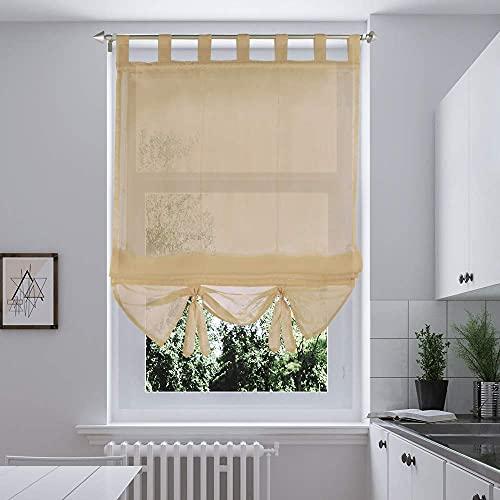i@HOME Voile Raffrollo 140 x 155 cm Raffrollo ohne Bohren Raffgardine mit Schlaufen Fenstervorhang Scheibengardinen Rollos Schlaufen Transparent Vorhang für Fenster