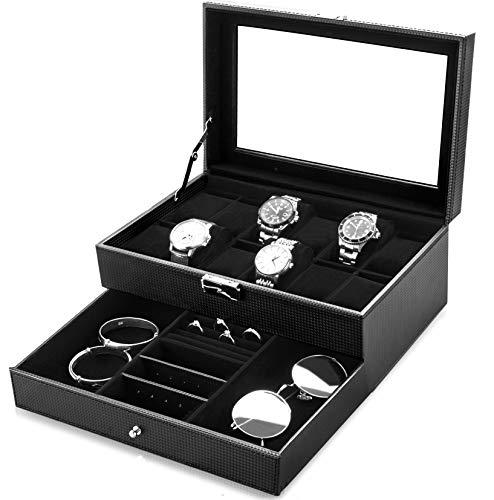 bestwishes Uhren-Box mit 12 Fächern für Uhren, Schmuck-Organizer mit Schmuck-Schublade für Aufbewahrung und Display, abschließbar Schwarz/vertikale Streifen