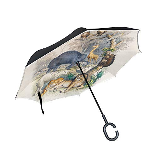 Geschichte Erde Belebte Natur Reversion Invertierter Umgekehrter Regenschirm Langschirm UV-Schutz Umbrella Winddicht Schirme für Auto Jungen Mädchen Frauen