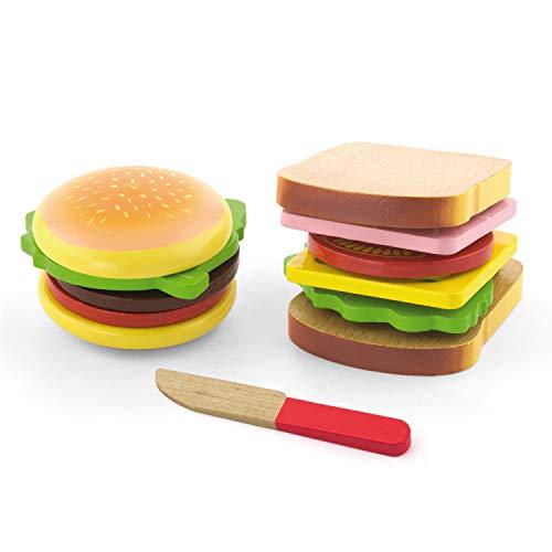 VIGA 50810 Set mit Hamburger und Sandwich aus Holz, Multi Color, 2