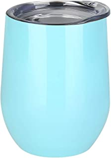 Uspeedy 12 oz Stainless Steel Wine Glass, Vacuum Insulated Stemless Tumbler Double-Walled Tumbler Cup with Lids for Drinks, Juice, Wine, Coffee, Champagne, Cocktails