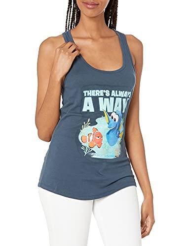 Disney Women's Pixar Finding Dory Always A Way Racerback Graphic Tank Top, Indigo, XXL