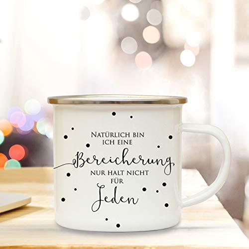 ilka parey wandtattoo-welt Emaille Becher Spruch Motto Bereicherung Camping Tasse mit Zitat & Punkte Kaffeetasse Geschenk eb210