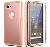 YOUMAKER Slim Fit Case for Google Pixel 3a, Rugged Shockproof Bumper with Built-in Screen Protector Front Cover Full-Body Case for Google Pixel 3a 5.6 Inch (2019) - Rose Gold/Pink