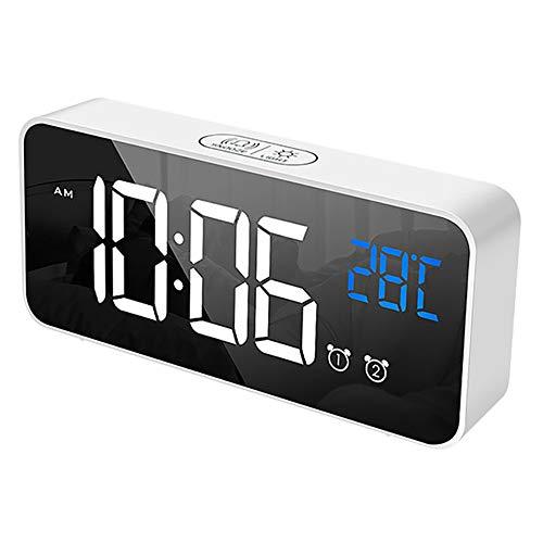 Reloj Despertador Digital, LED Pantalla Reloj Alarma Inteligente con Temperatura, 2 Alarma, Snooze, 4 Brillo Ajustable Función, Volumen Regulable, 13 Tipos de Música, Puerto de Carga USB (blanco)