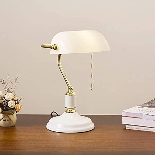 Lámpara de mesa de banqueros clásica, pantalla de cristal blanco tradicional de estilo antiguo con soporte de metal Luz de escritorio Luz de noche de noche para dormitorio vintage Luz de lectura para