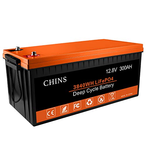 CHINS 12 V 300 Ah LiFePO4 Deep Cycle Batterie, eingebauter 200 A BMS, 2000–5000 Zyklen, jeder Akku unterstützt 2560 W Ausgangsleistung, perfekt für Wohnmobil, Wohnwagen, Solar, Marine, Zuhause und netzunabhängige Lagerung.