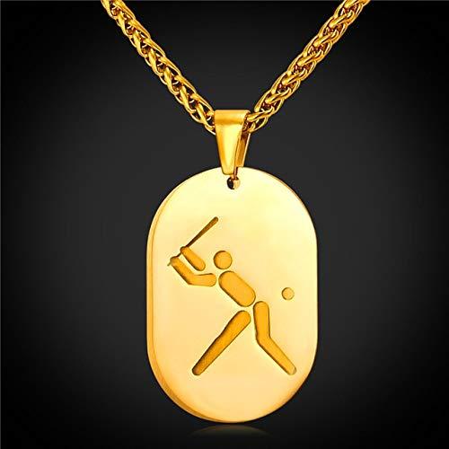 TANMEY Halskette Baseball Anhänger Doppel Halskette Sport Schmuck Edelstahl Gold Farbe Kette Männer