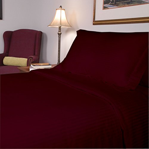 SRP Linen Egyptian Cotton 300-Thread-Count Super Soft 3PCs Zipper Closure Designer Duvet Cover Set Euro Double IKEA Striped Wine