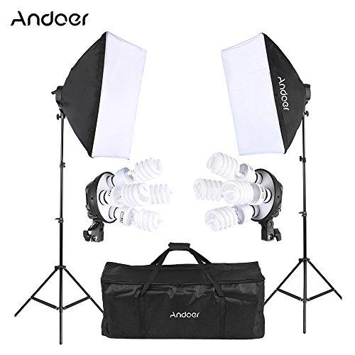 Andoer Softbox Kit Fotografía con 2*Softbox ,2*4in1 Bulb Socket ,8*45W Bombilla ,2*Soporte de Luz ,1* Bolsa de Transporte,Kit de Iluminación Profesional para Estudio Fotográfico, Luz Sufieciente