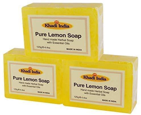 Glamorous Hub Khadi India - Jabón de baño de glicerina ayurvédica hecho a mano con limón puro a base de hierbas, paquete de 3 x 125 g (el embalaje puede variar)