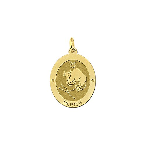 Namesforever ovale hanger van 14 karaat (585) geelgoud | motief stier sterrenbeeld dierenriemteken | gratis gravure op de voorkant