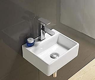 Ceramic Wall Mounted/Wall Mount/Wall Hung Wash Basin Bathroom Porcelain Vessel Sink Above Counter Countertop Bowl Sink for Lavatory Vanity Cabinet Contemporary Style 33 x 30 x 13 cm White