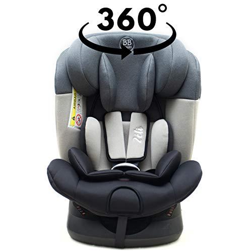 ZELI Siège-auto 360° Isofix 0-36 kg Groupe 0+/1/2/3 Gris sans canopy
