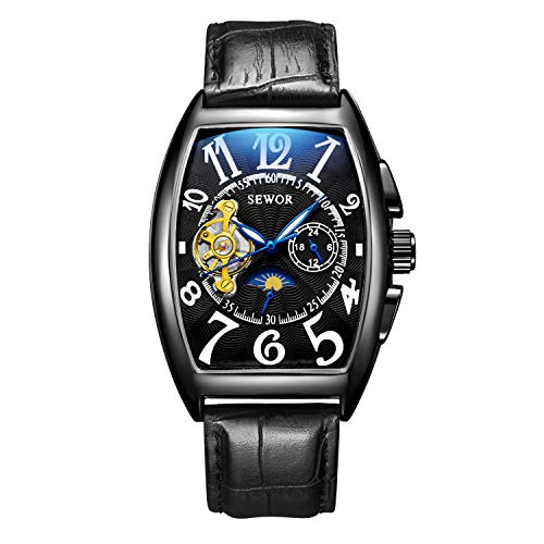 SEWOR de Lujo para Hombre Tourbillon Fase de la Luna automático mecánico Banda de Cuero Reloj de Pulsera Cristal Azul (Negro)