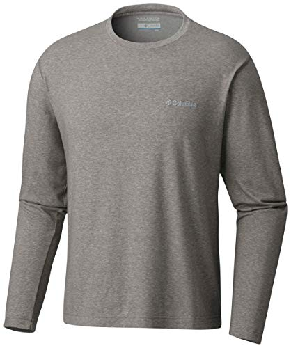 Columbia Men's Thistletown Park Long Sleeve Crew, Charcoal Heather, Large