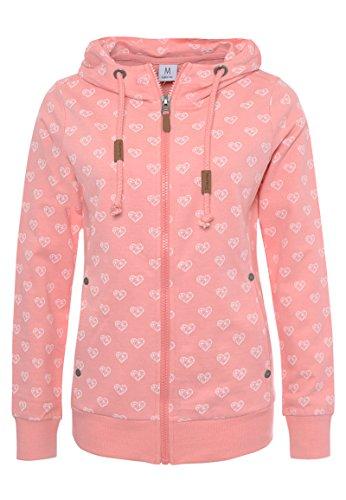 Sublevel Damen Sweat-Jacke mit Kapuze und Allover-Print Light-pink XS