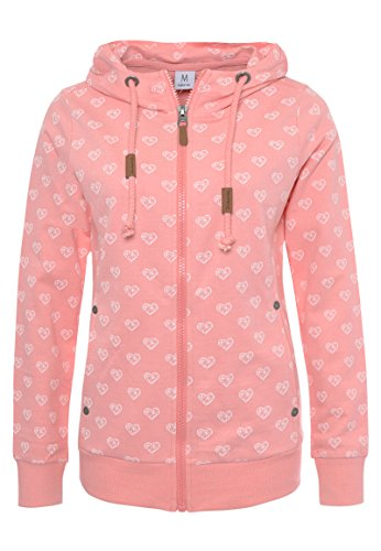 Sublevel Damen Sweat-Jacke mit Kapuze und Allover-Print Light-pink M