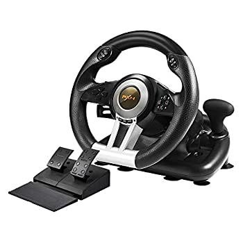 PXN V3II PC Racing Wheel 180 Degree Universal Usb Car Racing Game Steering Wheel with Pedal for Windows PC PS3 PS4 Xbox One,Xbox Series S/X Nintendo Switch Black