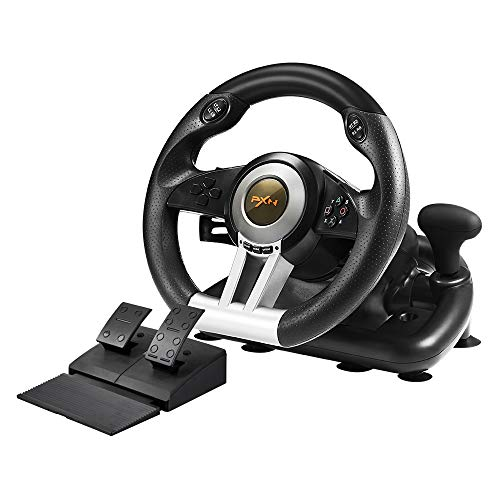 PXN V3II PC Racing Wheel, 180 Degree Universal Usb Car Racing Game Steering Wheel with Pedal for Windows PC, PS3, PS4, Xbox One/Xbox Series S&X, Nintendo Switch(Black)