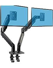 """HUANUO 15"""" - 35"""" Dubbele Monitor Standaard, Verstelbare Gasveer Arm met HDMI Kabels, Ondersteuning VESA 75/100 mm & Gewicht tot 12 KG per Arm, 2 Bevestigingsopties"""