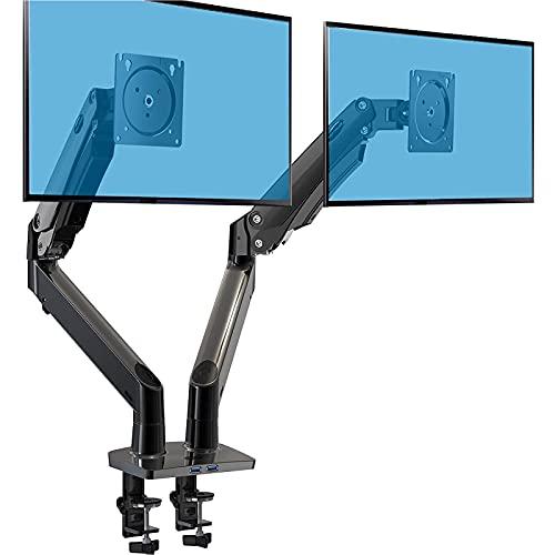 HUANUO Monitor Halterung 2 Monitore, Monitor Halterung Gasdruckfeder Arm für 15-35 Zoll LED-LCD-Bildschirme, VESA 75/100 mm und Gewichtskapazität 12 kg pro Arm, C-Klemme und Tüllenbefestigung