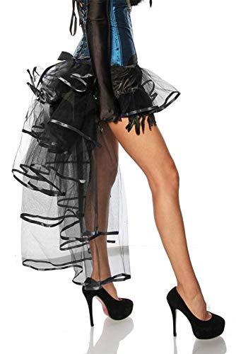 Wunderschöner Burlesque Volant-Rock mit Federn aus Tüll und Satin - Schwarz One Size (12789)