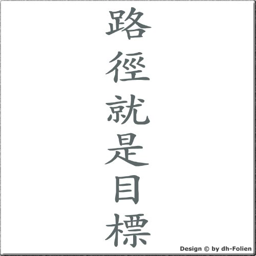 wall-refine WA-00474| DER WEG IST DAS ZIEL CHINESISCH SENKRECHT | Premium Wandtattoo Wandaufkleber der Extra-Klasse , 35 x 160 cm , graphite / basaltgrau oder 33 weiteren Farben und 3 Grössen erhältlich , seidenmatter Glanz VERSANDKOSTENFREI