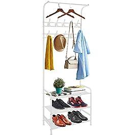 Porte-manteau en métal, avec porte-chaussures, étagères à 8crochets amovibles, pour vêtements, chapeaux, écharpes, sacs à main, parapluie