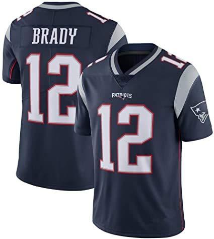 Tom Brady American Football Trikot # 12 New England Patriots, Rugby Jersey T-Shirt mit V-Ausschnitt Kurzarm Bequemes atmungsaktives Sweatshirt blue-2XL